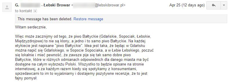 Łebski Browar - pogróżki