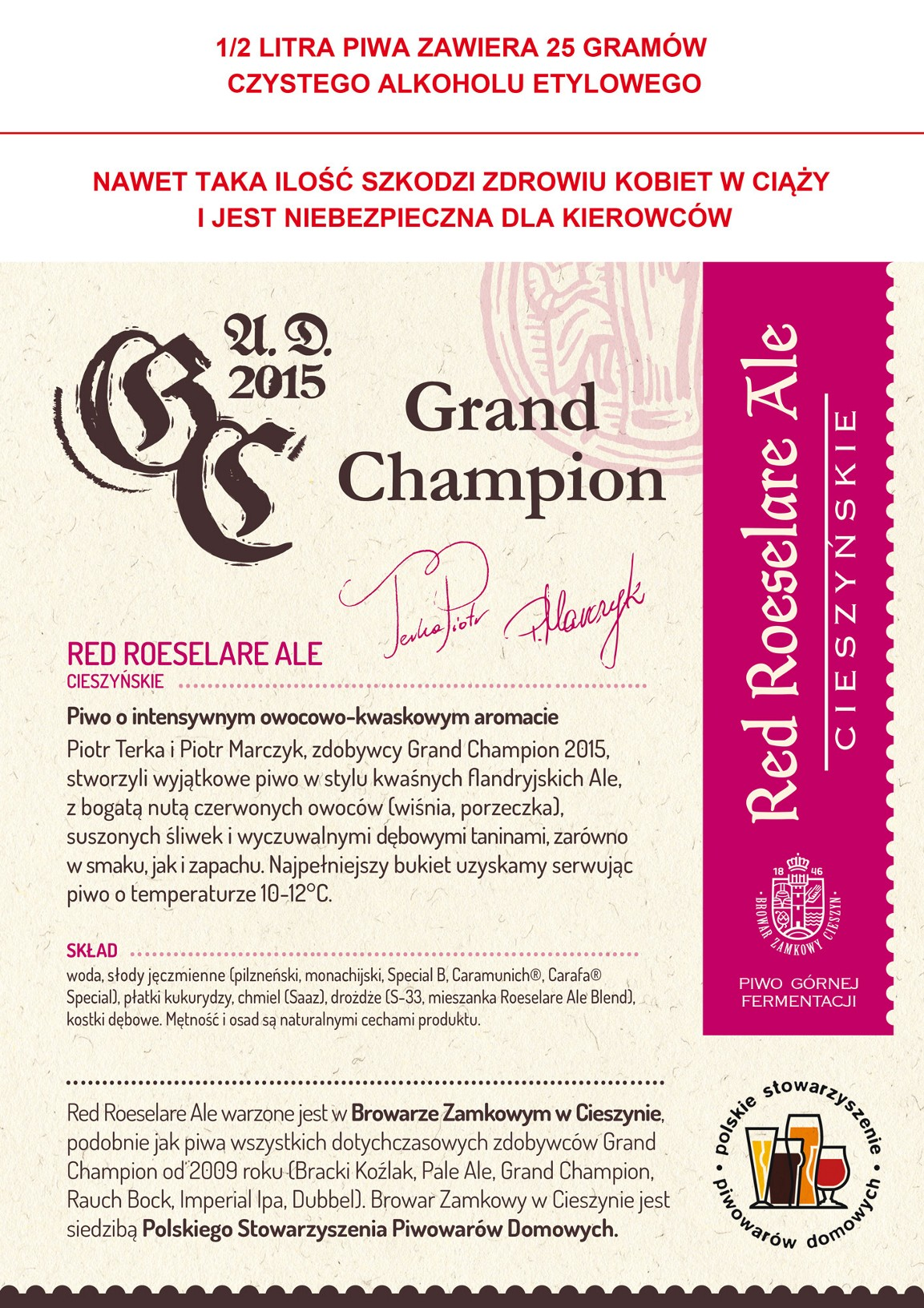 Grand Champion 2015 Red Sour Ale