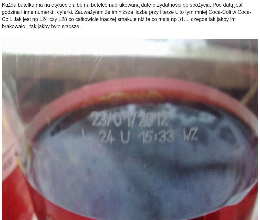 Coca-Cola - numery na spodzie puszki